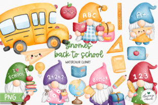 Print on Demand: Watercolor Back to School Gnome Clipart Graphic Illustrations By Chonnieartwork