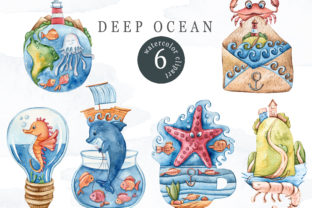 Print on Demand: Watercolor Sea Animals Clipart Graphic Illustrations By Tiana Geo