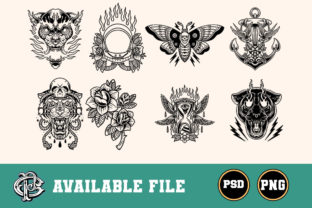 Print on Demand: Tattoo Style Silhouette Design Bundle Graphic Illustrations By doni.pacoceng