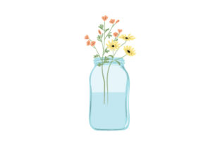 Mason Jar Filled with Flowers Designs & Drawings Craft Cut File By Creative Fabrica Crafts