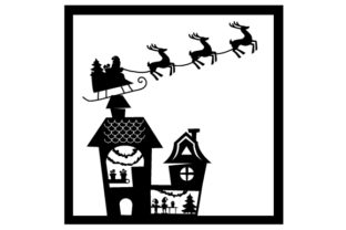 North Pole with Santa's Workshop Silhouette Christmas Craft Cut File By Creative Fabrica Crafts