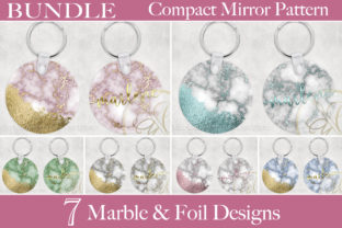 BUNDLE Marble Round Keychain Sublimation Graphic Print Templates By paperart.bymc