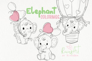 Baby Elephant Colorings. Elephant Line Graphic Coloring Pages & Books Kids By CosyArtStore by RivusDea