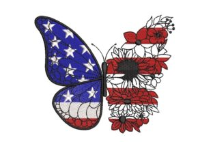Print on Demand: Butterfly USA Flag with Flowers Independence Day Embroidery Design By ArtEMByNatali