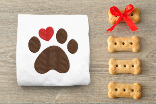 Dog Paw with Heart Dogs Embroidery Design By DesignedByGeeks