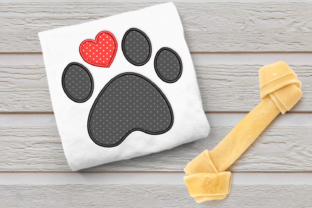 Dog Paw with Heart Toe Applique Dogs Embroidery Design By DesignedByGeeks