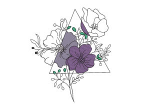Flowers in Triangle Floral & Garden Embroidery Design By Canada Crafts Studio