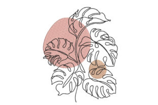 Monstera Leaf Floral & Garden Embroidery Design By Canada Crafts Studio