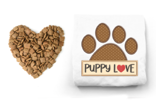 Puppy Love Dog Paw Dogs Embroidery Design By DesignedByGeeks