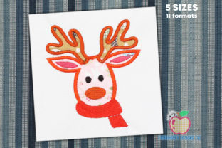 Reindeer Face with Scarf Wild Animals Embroidery Design By embroiderydesigns101
