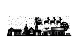 Christmas Village Silhouette Christmas Craft Cut File By Creative Fabrica Crafts