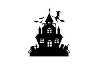 Silhouette of a Haunted House Designs & Drawings Craft Cut File By Creative Fabrica Crafts