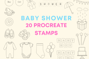 20 Procreate Brush Stamps - Baby Shower Graphic Brushes By sheen.anchita