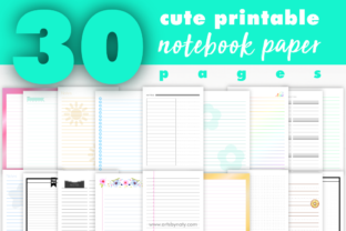 Print on Demand: 30 Cute Printable Notebook Paper Pages. Graphic KDP Interiors By artsbynaty 1