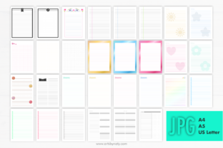 Print on Demand: 30 Cute Printable Notebook Paper Pages. Graphic KDP Interiors By artsbynaty 5