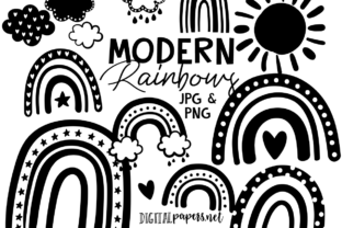 Print on Demand: Black and White Modern Rainbows Graphic Illustrations By DigitalPapers