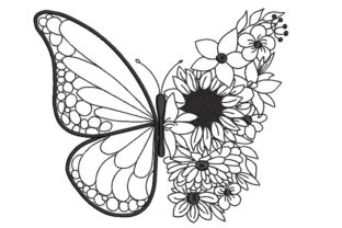 Print on Demand: Butterfly with Flower Bugs & Insects Embroidery Design By ArtEMByNatali 1