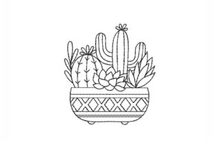 Cactus Single Flowers & Plants Embroidery Design By SonyaEmbroideryStore