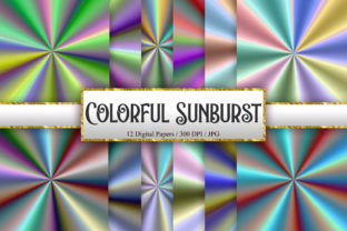 Print on Demand: Colorful Sunburst Digital Papers Graphic Backgrounds By PinkPearly