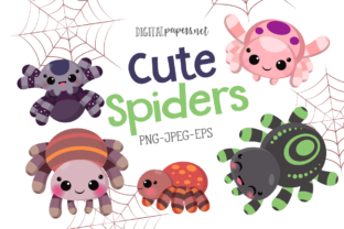 Print on Demand: Cute Spiders Clipart Graphic Illustrations By DigitalPapers