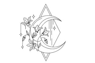 Floral Moon Diamond Floral & Garden Embroidery Design By Canada Crafts Studio