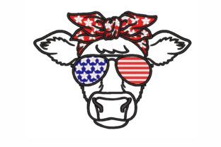 July 4th Cow Independence Day Embroidery Design By SonyaEmbroideryStore