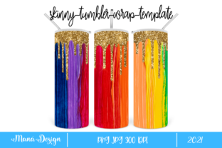 Print on Demand: Rainbow Colored and Glitter Skinny Graphic Print Templates By Maná Design
