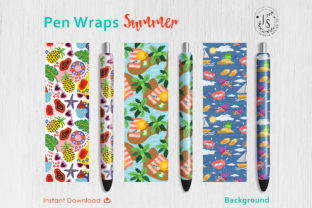 Print on Demand: Summer Beach Pen Wraps PNG File Set Graphic Crafts By jannta