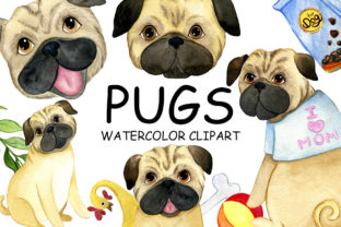 Print on Demand: Watercolor Pug Clip Art, Dogs Set Graphic Illustrations By NoviArt