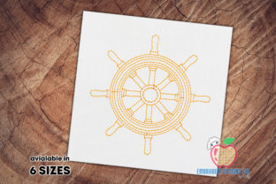Wooden Steering Wheel of a Ship Beach & Nautical Embroidery Design By embroiderydesigns101 1