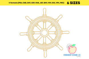 Wooden Steering Wheel of a Ship Beach & Nautical Embroidery Design By embroiderydesigns101 2