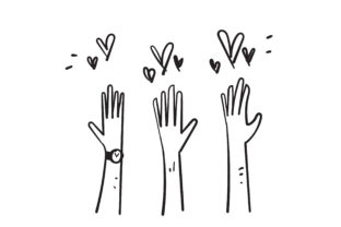 Print on Demand: Doodle Raise Hand S and Love Graphic Illustrations By GwensGraphicstudio