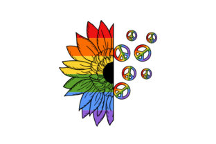 Pride Sunflower with Peace Signs Designs & Drawings Craft Cut File By Creative Fabrica Crafts