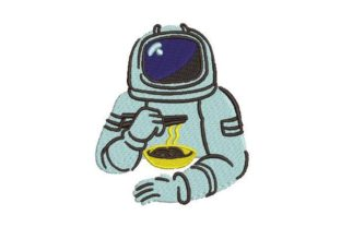 Astronaut Eating Ramen Robots & Space Embroidery Design By Embroidery Designs
