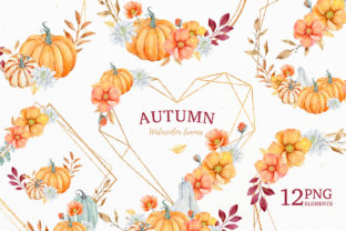 Autumn Watercolor Frames and Bouquets Graphic Illustrations By SipkaDesigns