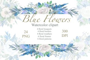 Print on Demand: Blue Floral Watercolor Clipart, Wedding Graphic Illustrations By Marine Universe