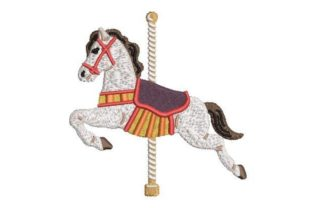Carousel Horse Circus & Clowns Embroidery Design By Embroidery Designs