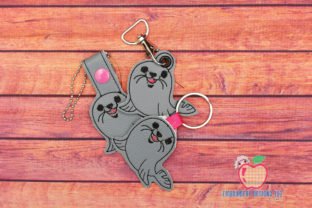 Cheerful Sea Lion ITH Key Fob Marine Mammals Embroidery Design By embroiderydesigns101