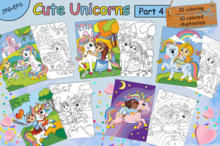 Coloring for Children Cute Unicorns-4 Graphic Coloring Pages & Books Kids By Alinart
