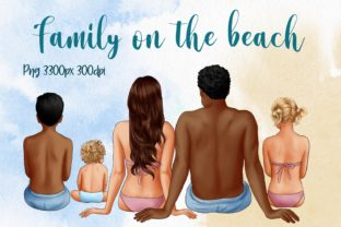 Family on the Beach, Summer Clipart Graphic Illustrations By Arte de Catrin
