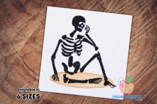 Human Skeleton Sketch Backgrounds Embroidery Design By embroiderydesigns101
