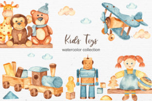 Kids Toys Watercolor Collection Graphic Illustrations By Marina Ermakova