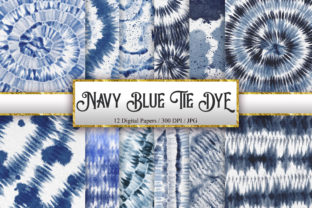 Print on Demand: Navy Blue Tie Dye Digital Papers Graphic Backgrounds By PinkPearly