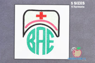Nurse Cap with Monogram Applique Work & Occupation Embroidery Design By embroiderydesigns101