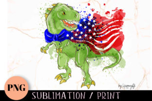 Patriotic Dinosaur American Flag PNG Graphic Illustrations By Hippogifts