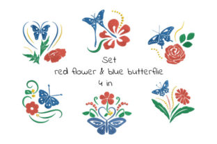 Print on Demand: Set of Red Flowers and Blue Butterflies Bugs & Insects Embroidery Design By EmbArt