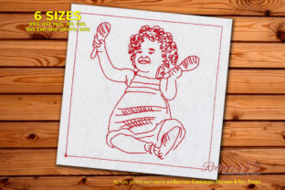 Toddler Playing with Musical Toys Babies & Kids Quotes Embroidery Design By Redwork101