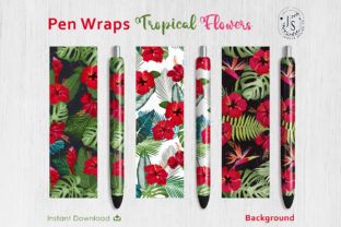 Print on Demand: Tropical Flower Pen Wraps PNG File Set Graphic Crafts By jannta