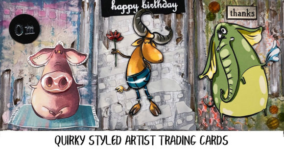 A trio of Quirky Mixed Media ATC Cards