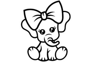 Print on Demand: Baby Elephant SVG Cutting Files Graphic Crafts By litcyz
